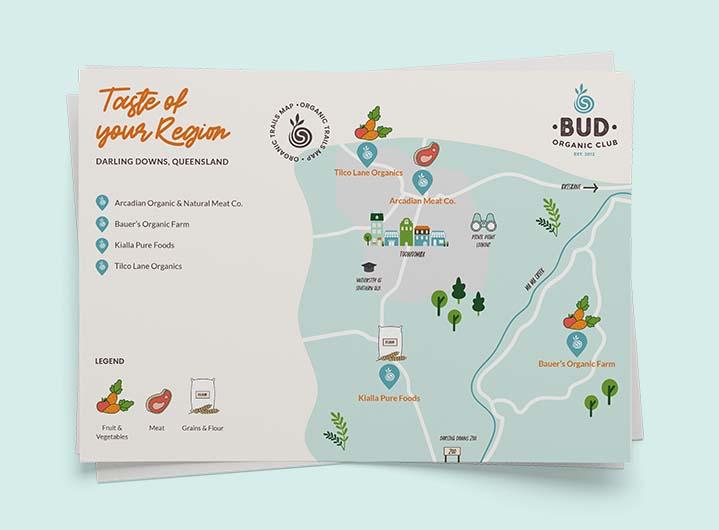 Illustrated maps showing organic retailers across Australia.